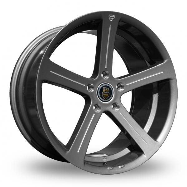 "NEW 19"" CADES APOLLO ACCENT GUNMETAL ALLOY WHEELS, DEEP CONCAVE 9.5"" REARS"